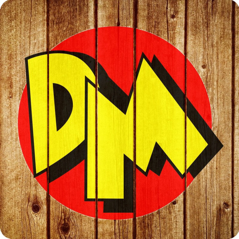 A Danger Mouse inspired Wooden Coaster an image of the Danger Mouse logo on it.