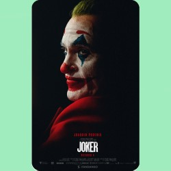 The film poster for the Joker movie on a fridge magnet