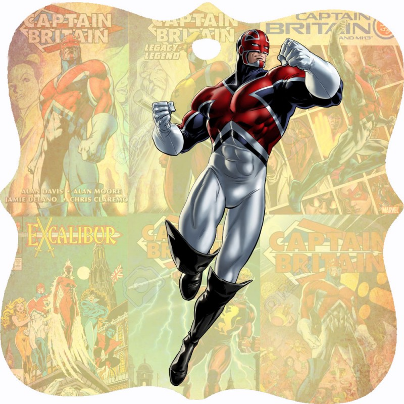 A wooden Christmas Tree Decoration with an image of Captain Britain on a background of Captain Britain comics