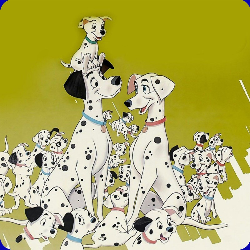 A metal fridge magnet with an image of the 101 Dalmatians printed on it.