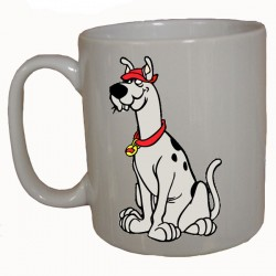 A white ceramic mug with an image of Scooby Dum (from Scooby Doo) on one side and the Scooby Doo logo on the other.
