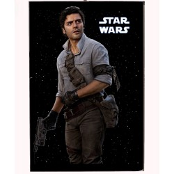 An image of Poe Dameron from the Star Wars movies on a wooden photo block.