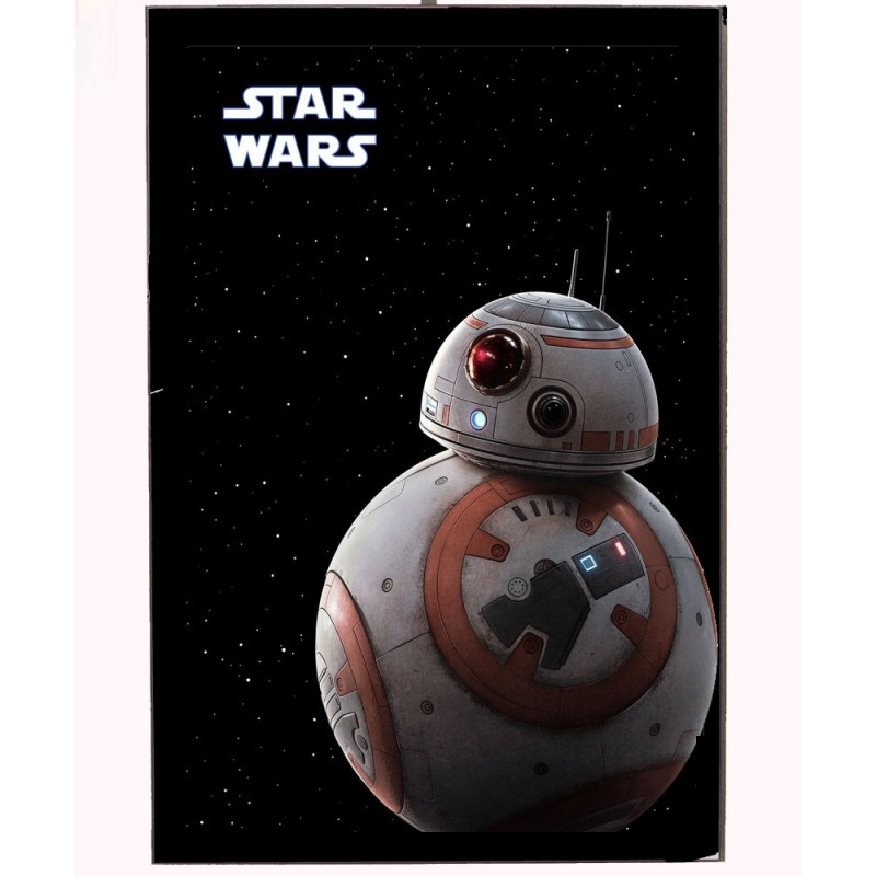 An image of BB8 from the Star Wars movies on a wooden photo block.