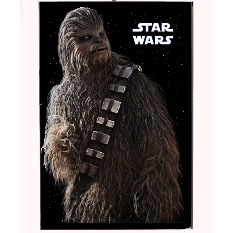 An image of Chewbacca from the Star Wars movies on a wooden photo block.