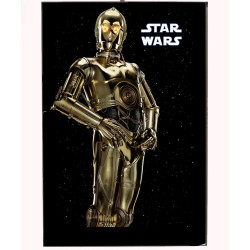An image of C3PO from the Star Wars movies on a wooden photo block.