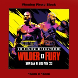 A wooden photo plaque with the fight poster for Deontay Wilder vs Tyson Fury 2