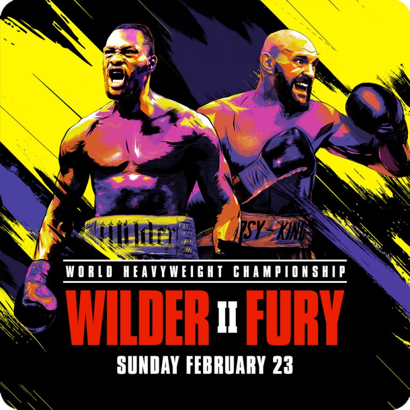 A wooden coaster with the fight poster for Deontay Wilder vs Tyson Fury 2