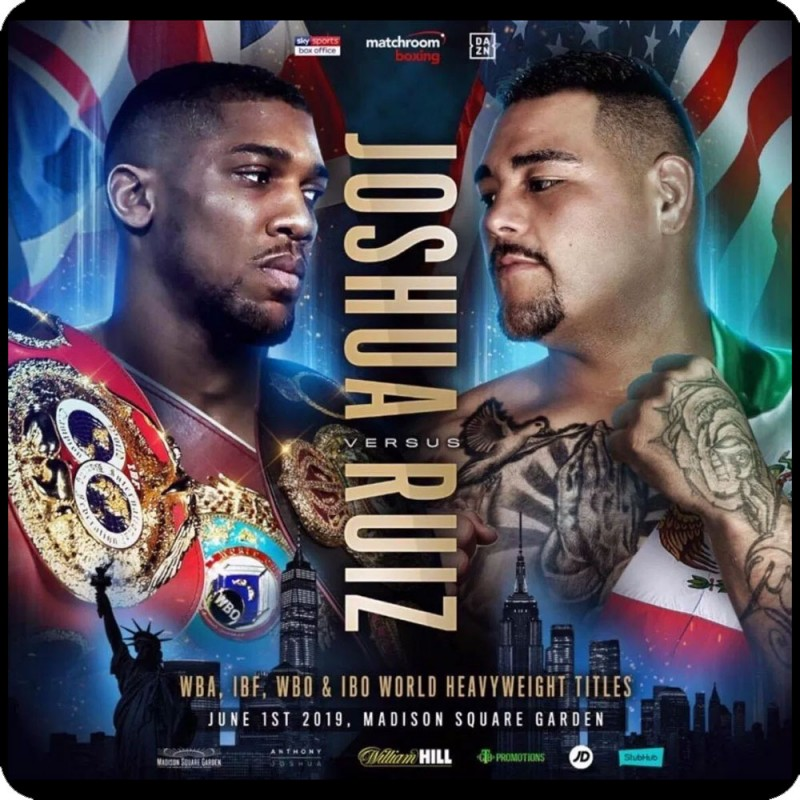 A metal fridge magnet with the fight poster for Anthony Joshua v Andy Ruiz printed on it.