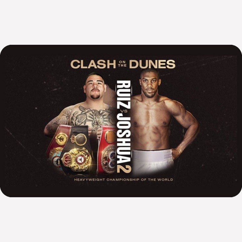A metal fridge magnet with the fight poster for Anthony Joshua v Andy Ruiz 2 printed on it.