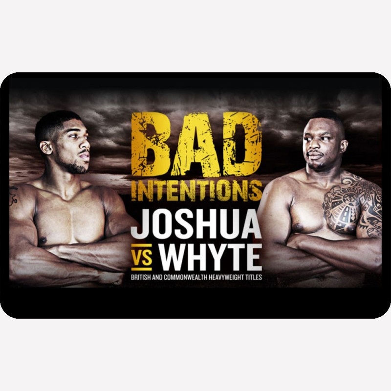 A  metal fridge magnet with the fight poster for Anthony Joshua vs Dillian Whyte on it.