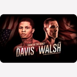 A metal fridge magnet with the fight poster for Gervonta Davis  v Liam Walsh printed on it.
