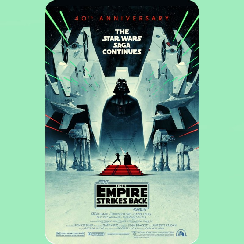 This metal fridge magnet has the 40th Anniversary Film poster for the Star Wars film The Empire Strikes Back on it.